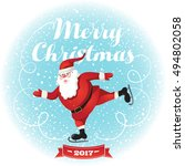 funny santa. christmas greeting ... | Shutterstock .eps vector #494802058