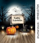 halloween spooky background.... | Shutterstock .eps vector #494810704