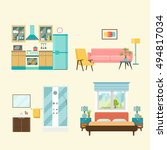 set of  interior design room .... | Shutterstock .eps vector #494817034