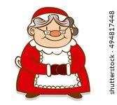 vector cartoon mrs. claus... | Shutterstock .eps vector #494817448