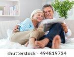senior couple at home  | Shutterstock . vector #494819734