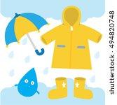 a yellow raincoat  umbrella ...   Shutterstock .eps vector #494820748
