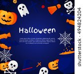 halloween background. vector... | Shutterstock .eps vector #494824204
