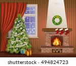 christmas interior with... | Shutterstock .eps vector #494824723