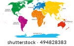Seven Continents Map With...