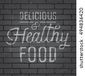 hand drawn lettering slogan on... | Shutterstock .eps vector #494836420