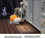 Scary Skeleton Sitting On Porc...