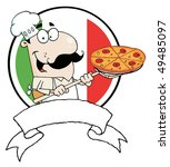 cartoon proud chef inserting a... | Shutterstock .eps vector #49485097