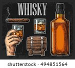 whiskey glass with ice cubes ... | Shutterstock .eps vector #494851564