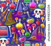 seamless halloween pattern.... | Shutterstock .eps vector #494852104