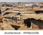 kibera slum poor huts  or... | Shutterstock . vector #494861038