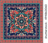 oriental scarf with beautiful... | Shutterstock . vector #494863060