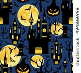 halloween background. seamless... | Shutterstock .eps vector #494866996