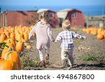 boy and girl running to choose... | Shutterstock . vector #494867800