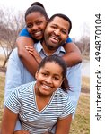 father with his daughters. | Shutterstock . vector #494870104
