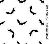 black bats abstract seamless... | Shutterstock .eps vector #494871136
