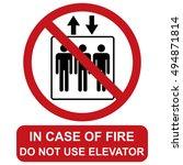 do not use elevator in case of...   Shutterstock .eps vector #494871814