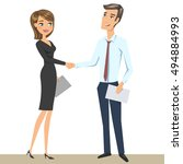 elegant man and woman  business ... | Shutterstock .eps vector #494884993