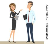 elegant man and woman  business ... | Shutterstock .eps vector #494884999