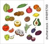 set doodles elements vegetables ... | Shutterstock .eps vector #494895700