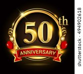 50th anniversary logo with... | Shutterstock .eps vector #494902618