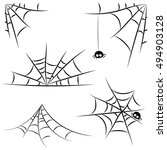 collection of vector spider web ... | Shutterstock .eps vector #494903128
