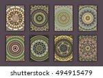 collection retro cards. ethnic... | Shutterstock .eps vector #494915479
