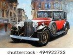 Retro Car In Old City Street...
