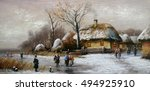 painting  landscape of winter... | Shutterstock . vector #494925910