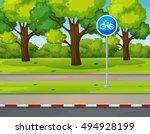 park scene with bike lane on... | Shutterstock .eps vector #494928199