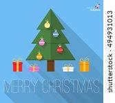 christmas tree flat design... | Shutterstock .eps vector #494931013
