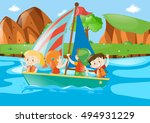 Four Kids Sailing Boat In River ...