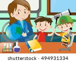 elementary teacher with students | Shutterstock .eps vector #494931334