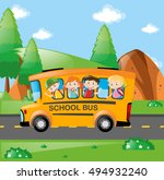 four kids riding on school bus... | Shutterstock .eps vector #494932240