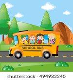 four kids riding on school bus... | Shutterstock .eps vector #494932240