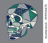 low poly geometric skull head... | Shutterstock .eps vector #494934670