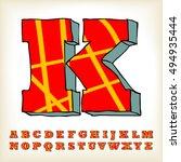 alphabet set red colour design  ... | Shutterstock .eps vector #494935444