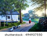 ukrainian village  painting | Shutterstock . vector #494937550