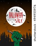vape shop poster for halloween... | Shutterstock .eps vector #494955976
