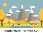 vector a flat autumn landscape... | Shutterstock .eps vector #494956564