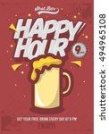 happy hour concept poster... | Shutterstock .eps vector #494965108