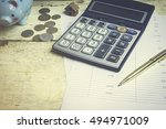 calculator paper pen business... | Shutterstock . vector #494971009