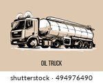 oil truck sketch illustration | Shutterstock .eps vector #494976490
