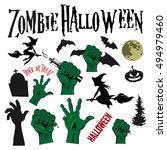 hallowen set stickers vector | Shutterstock .eps vector #494979460