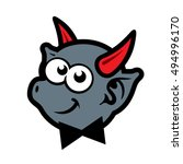 demon with red horns cartoon... | Shutterstock . vector #494996170