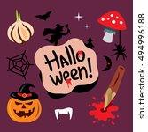 halloween symbols cartoon... | Shutterstock . vector #494996188