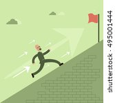 running towards the goal.... | Shutterstock .eps vector #495001444