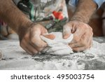 the process of making pizza | Shutterstock . vector #495003754