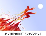jumping man with line art... | Shutterstock .eps vector #495014434