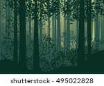 deciduous forest landscape with ... | Shutterstock .eps vector #495022828